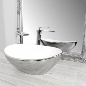 Keramické umývadlo na dosku SOFIA strieborno-biele