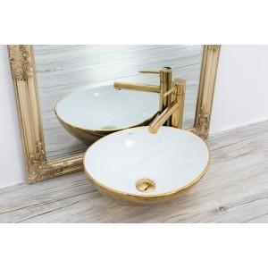 Keramické umývadlo na dosku SOFIA zlato/biele 41cm